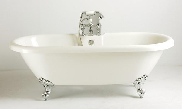 Bad op poten met nostallgische badkraan en sifon -0