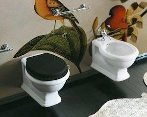Toiletzitting met deksel zwart kunstof met verchroomde scharnieren-0