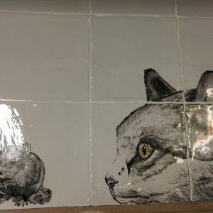 """Tegeltableau """"kat"""" op nostalgische handvormtegels 13 x 13-0"""