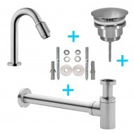 Set Victoria toiletkraan + afvoer/bev. geb.staal-0