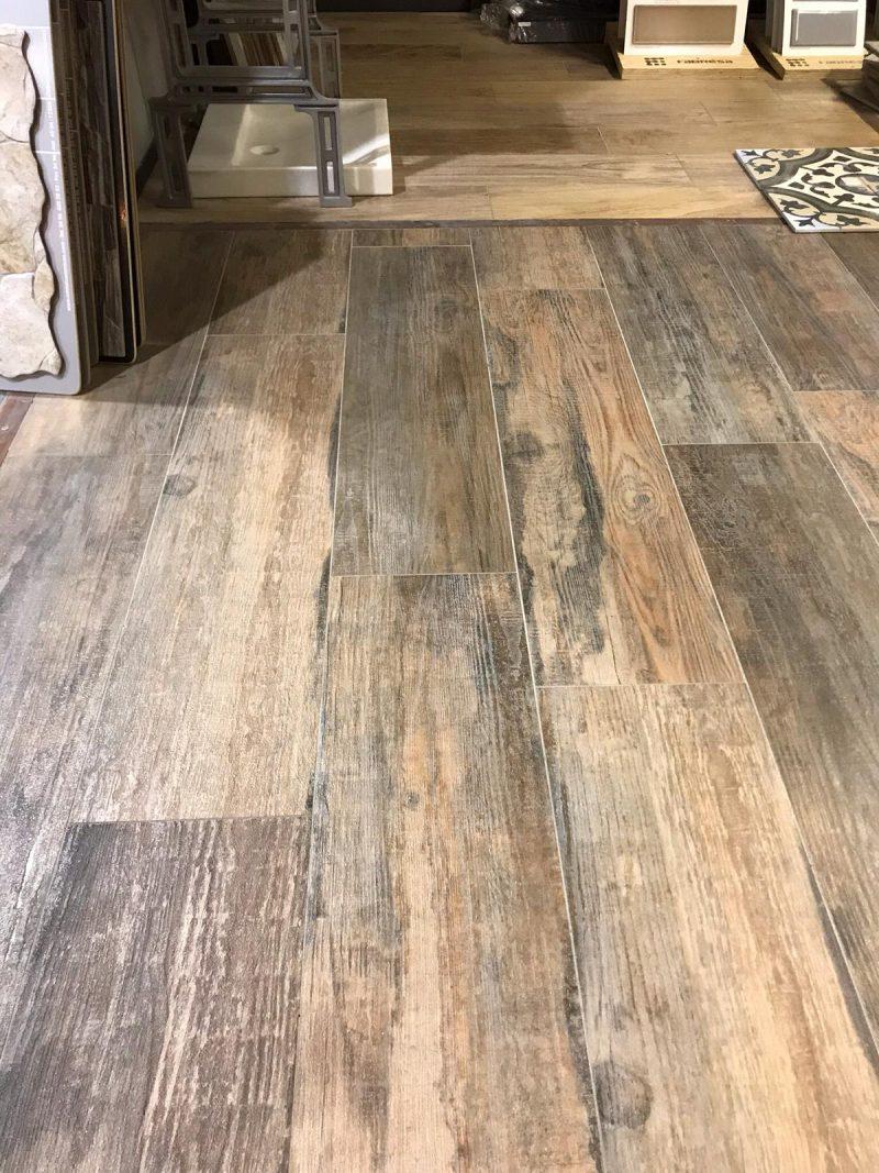Keramisch parket / Houtlook tegels bruin grijs 100x25-0